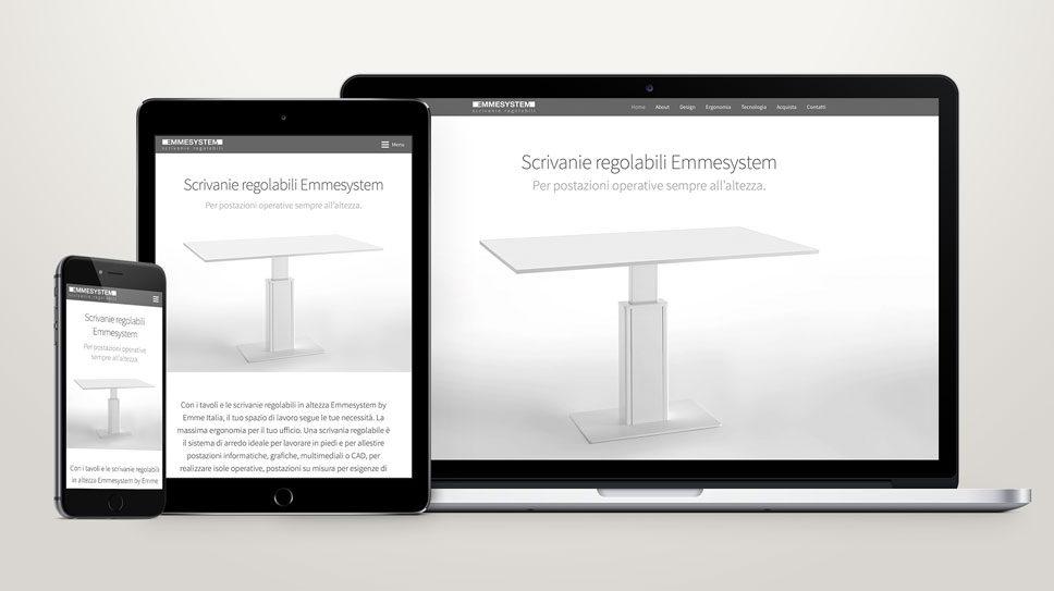 Creazione sito web one page a Padova, per Scrivanie Regolabili Emmesystem